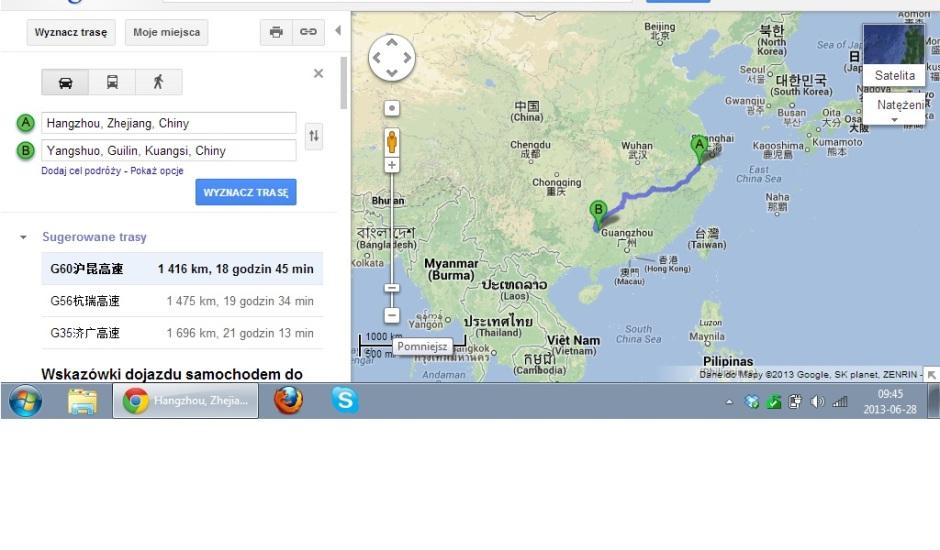 Trasa pociągiem z Hangzhou do Guilin a późnij autobusem