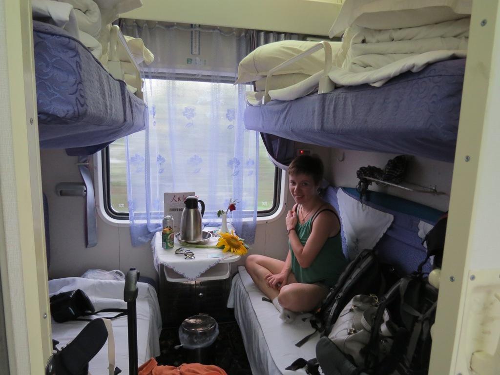 Kuszetka w chińskim pociągu