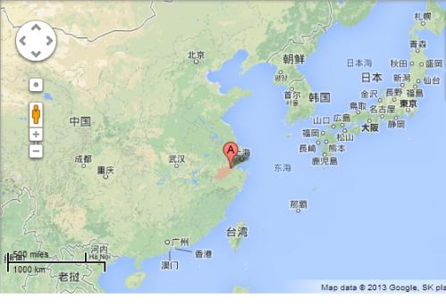 Hangzhou na mapie Chin. Niech nie zmylą Was odległości: do Szanghaju 300 km, do Pekinu i Hong Kongu 1,500 km!