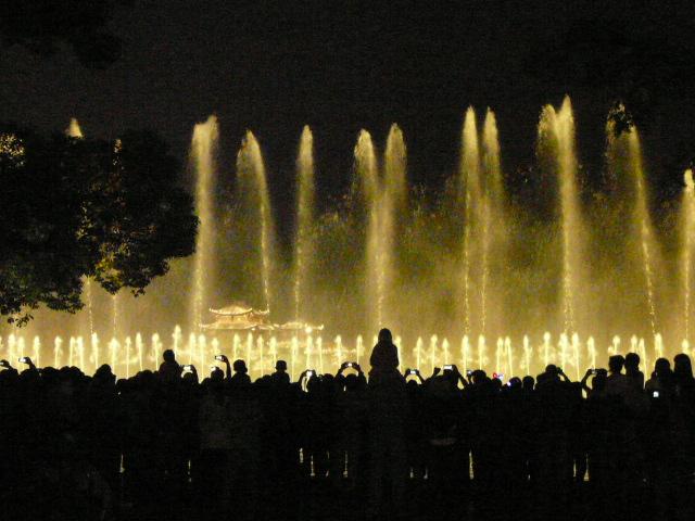 Nocny pokaz swiateł i wody na jeziorze
