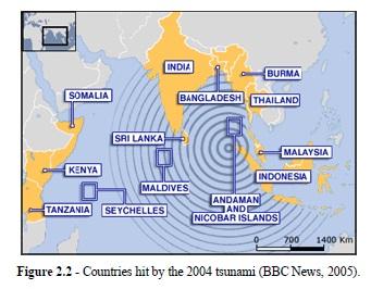 Mapa regionów dotkniętych tsunami w 2004 [raport Tsunami Mitigarion in Baan Nam Khem, Thailand]