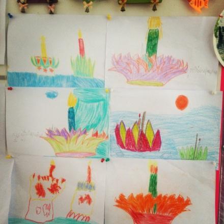 Kratongi rysowane przez niepełnosprawne dzieci, z którymi pracujemy.