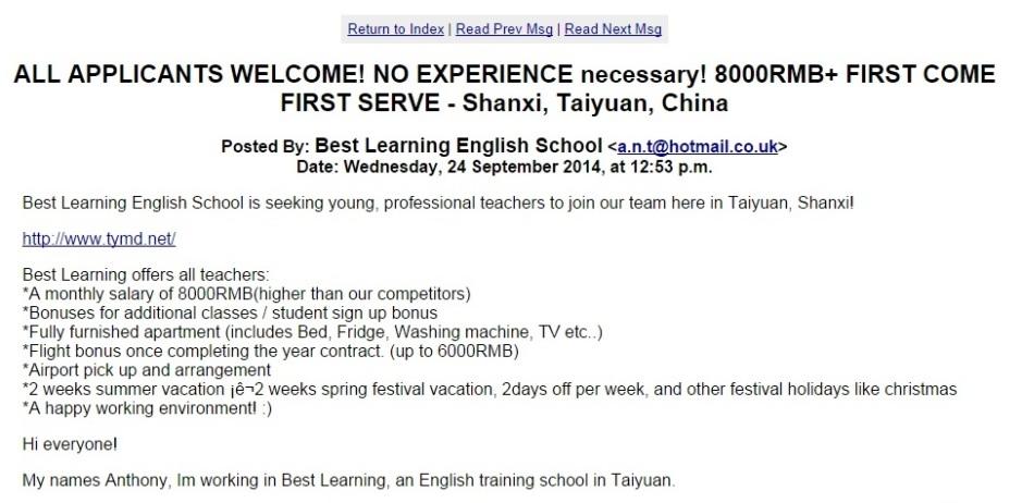 Przykładowe ogłoszenie o pracę w Chinach.